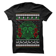 Sugar Skull Xmas T-Shirts, Hoodies. SHOPPING NOW ==► Funny Tee Shirts