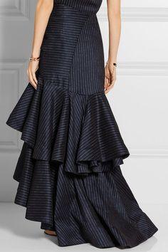 ROSIE ASSOULIN Bidi Bidi Bom Bom pinstriped stretch linen-blend maxi skirt
