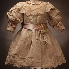 doll clothes french ANTIQUE | 47 antique french silk dress sold 48 antique blue fashion