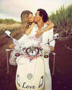Getaway vespa after a wedding in Maui, Hawaii