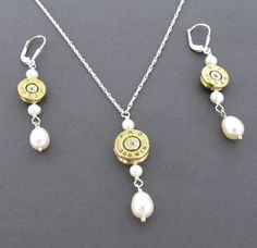 Hunters Wedding Bridal Jewelry Set, Handmade Bullet Necklace and Bullet Earrings, Freshwater Pearls, Custom Caliber Bullet Jewelry Set on Etsy, $109.00
