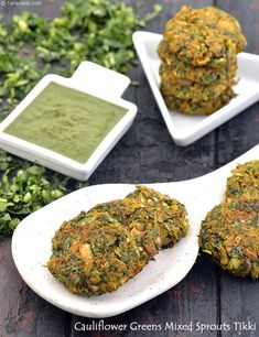 Make the most of cauliflower greens to up your haemoglobin levels! Though not very commonly used, these greens are a very good source of iron and lend themselves to the preparation of very tasty dishes, such as this Cauliflower Greens Mixed Sprouts Tikki. Veg Recipes, Indian Food Recipes, Cooking Recipes, Healthy Recipes, Ethnic Recipes, Indian Snacks, Snacks Recipes, Cooking Tips, Quick Healthy Snacks