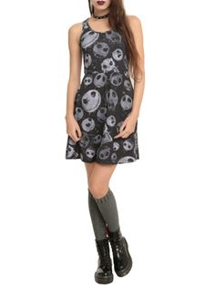Black dress from The Nightmare Before Christmas with a Jack heads print.