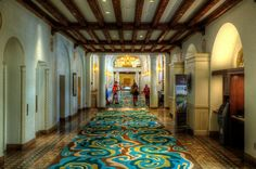 Walking the Hallways of the Vinoy Park Hotel, St Pete, Florida. Note the great pecky cypress beams.