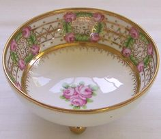 RC Nippon Footed Bowl with Roses - Gilt and Beaded - ca. 1911 offered by Ruby Lane Shop, Cousins Antiques. #Nippon