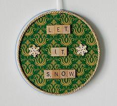 "Circular Magnet Board + ""Let It Snow"" Scrabble Tile Magnets"