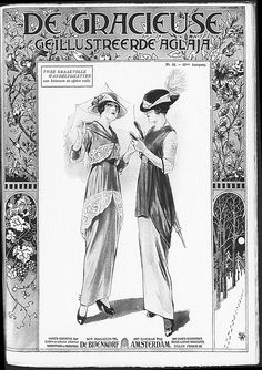 [De Gracieuse] Twee smaakvolle wandeltoiletten van katoen en zijden voile (August 1913)