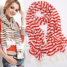Ladies new long striped lace scarf
