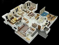 Pinterest: @claudiagabg   Apartamento 3 cuartos 1 estudio despensa terraza