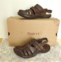 Born Verena Leather Strappy Boho Fisherman Sandals Brown Comfy Cute Party #Brn #Fisherman #Casual