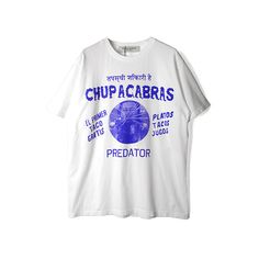 【BLACK WEIRDOS】CHUPACABRA TEE/WHITE ($65) ❤ liked on Polyvore featuring tops, t-shirts, white top, white tee and white t shirt