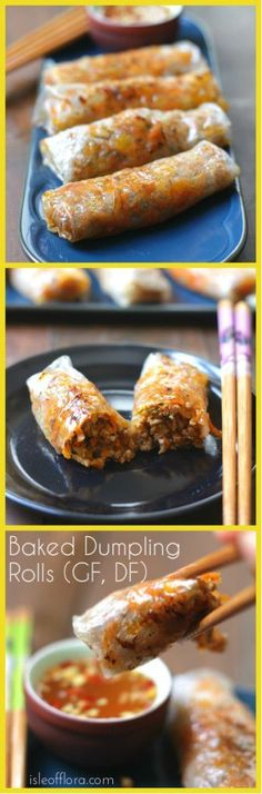 Baked Dumpling Rolls are a fusion of dumplings and spring rolls, together they make a crispy, meaty, bite sized morsel. They are naturally gluten-free and since they are baked they are healthier than normal deep fried rolls. They make a great starter, snack or light lunch or dinner. Click through to get the recipe. isleofflora.com