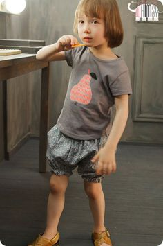 Sweet Pear Tee and Shorts for boys and girls aged 1-7. Cool kids fashion, play ready style at Color Me WHIMSY.
