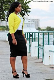 Curves and Confidence | Inspiring Curvy Women One Outfit At A Time: Black + White +Yellow