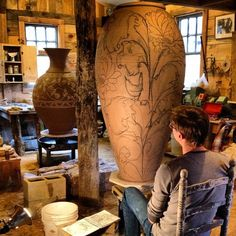 Alex, great-great-grandson of Matisse, is a potter working in wood-fired clay outside of Asheville, NC, at East Fork Pottery. Wanna go there! - here working on some monumental slip trailing.