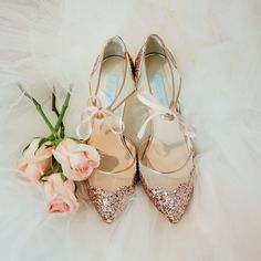 Pink sequin wedding shoes? I say heck yes!  #BetsyJohnson #dinachmutphotography #PinkWeddingShoes by dinachmut.collection