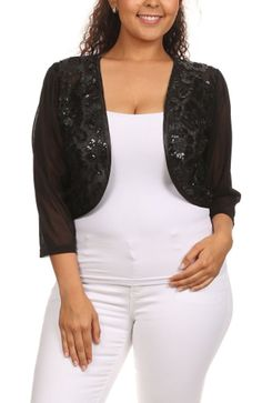 77d58f6f9d2 Womens Plus Size 3 4 Floral Crochet Cropped Bolero Shrug Jacket with Open  Front at