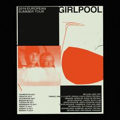 Poster for Los Angeles band Girlpool's 2019 European summer tour. Poster Design Layout, Graphic Design Posters, Graphic Design Inspiration, Poster Designs, Design Layouts, Typography Inspiration, Portfolio Layout, Portfolio Design, Design Bauhaus