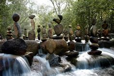 River rock balancing