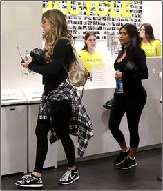 Khloe and Kim Kardashian prepare to work out at Soul Cycle. Check out celebs spotted at Soul Cycle Beverly Hills! http://celebhotspots.com/hotspot/?hotspotid=31209&next=1