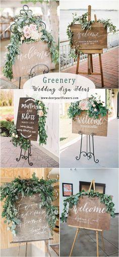 Greenery eucalyptus rustic wedding signs