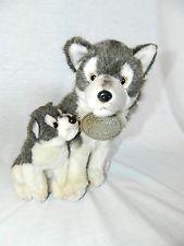 "Russ Berrie YOMIKO Classics 10"" Plush Baby & Mom Mommy Grey Wolf stuffed toy"