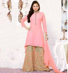 BOLLYWOOD PALLAZO SALWAR KAMEEZ ONLINE SHOPPING SUPERB DESIGN DRASHTIDHAMI LIGHT PINK AND LIGHT CHIKOO KAMEEZ WITH PLAZZO BOTTOM