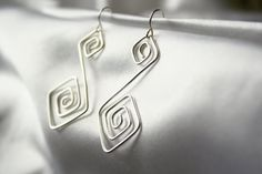 Double Square Wire Wrapped Earrings by ConceptAna on Etsy