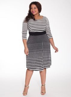Plus Size Wedding Guest Dresses for Summer - black and white knee-length polka dots ombre effect three quarter length sleeves