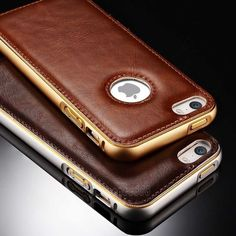 Luxury Leather Aluminum Metal Bumper Frame Case Cover for iPhone 6 / 6S Plus 5.5 #Unbranded
