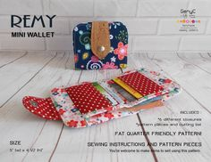 8 Super Cute DIY Wallet Tutorials for Beginners - Sew Some Stuff Wallet Sewing Pattern, Sewing Patterns Free, Free Sewing, Sewing Hacks, Sewing Projects, Diy Projects, Sewing Ideas, Diy Wallet Tutorial, Sew Wallet