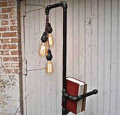 Iron pipe light/coat hook/bookshelf