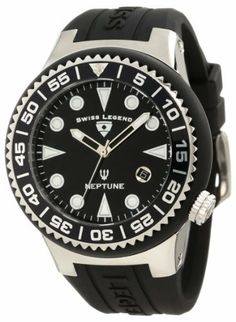 Swiss Legend Men's 21848D-01-NB Neptune Black Dial Black Silicone Watch Swiss Legend. $129.99. Water-resistant to 100 M (330 feet). Swiss quartz movement. Date function at 4:00. Black dial with silver tone and white hands and hour markers; luminous; unidirectional stainless steel bezel with black ring and silver tone arabic numerals; screw-down crown. Mineral crystal with sapphire coating; stainless steel case with black silicone cover and strap. Save 67%!