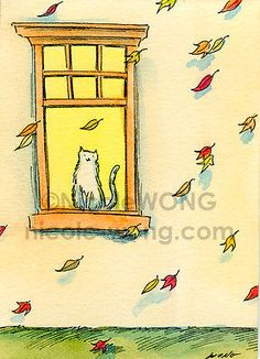 Wong-ACEO-Original-Painting-Falling-leaves-CAT-pets-animal-autumn-peaceful