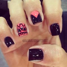 Black nails with coral accents & tribal print Hey guys is there any One Direction boards I could be added too? Love Nails, How To Do Nails, Fun Nails, Pretty Nails, Crazy Nails, Black Nail Designs, Cute Nail Designs, Fabulous Nails, Creative Nails