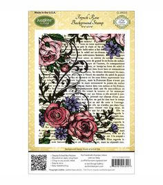 JustRite Stampers Cling Background Stamp French Rose with French Text