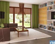 Proiect-de-casa-mica-Parter-64011-4 Good House, House Plans, Bookcase, Divider, Shelves, Curtains, How To Plan, Room, Furniture