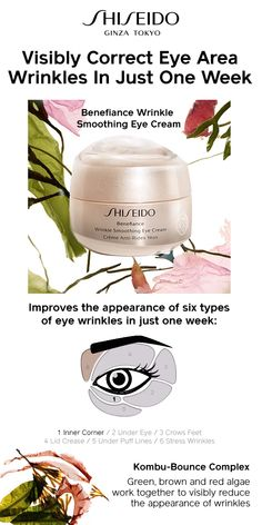 Use Shiseido Benefiance Wrinkle Smoothing Eye Cream to visibly smooth wrinkles in just one week. This anti-aging eye cream targets 6 types of wrinkles and leaves skin hydrated.