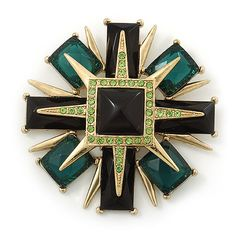 Victorian Style Black/ Dark Green Resin Stone Layered Cross Brooch In Gold Tone