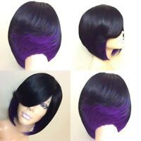 Short Side Bang Feathered Straight Bob Synthetic Wig - Black And Purple Mobile My Hairstyle, Hairstyles With Bangs, Straight Hairstyles, 27 Piece Hairstyles, Black Hairstyles, Celebrity Hairstyles, Trendy Hairstyles, Weave Hairstyles, Barbers