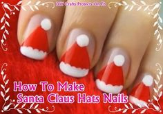 (VIDEO) Santa Claus Hats Nail Art! Want to decorate your nails to match the Holiday season? This is a really easy and cute nail art tutorial! Adorable Santa Claus Hats for your nails! It's easy to do! #holidaynailart #cutenailart #christmasnailart
