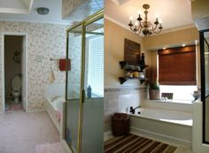I have always hated the old brass surrounding the glass on shower stalls - this blogger (one of my new favorites!) painted them with an oil rubbed bronze paint to update the look. The rest of the bathroom looks gorgeous! http://blog.addicted2decorating.com/2011/01/john-alices-master-bathroom-reveal.html