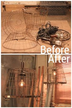 Wire Buckets + Utility Lights= Industrial Light Fixture for laundry room #Fleamarketflips