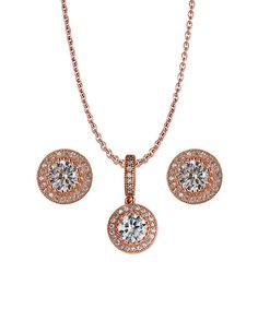 Look at this Cubic Zirconia & Rose Gold Pendant Necklace & Stud Earrings on #zulily today!