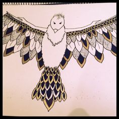 Design Two Completed - Phoenix /Bird / Eagle Merchandise Design - Assignment #Fly #Rise #Wings #Feathers #Gold #Silver #Black #White #Zentangle #Doodle #Doodle#2 #OneMoreToGo #Lines #Shapes #Art #HandRendered #Illustration #Done #Pen #Ink #Marker #Sharpie #Pencil #AlmostThere