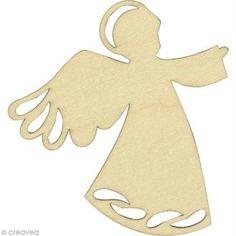 Silhouette Ange en bois 8 cm - 3 pcs