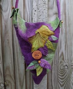 Woodland Bag -Felted Fairy Bag - Leaf Bag - purple bag
