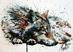 Wolf Tattoo Idea, OMG LOVE if I can find an awesome tattoo artist I want this. Wolf Painting, Watercolor Wolf Tattoo, Watercolor Art, Watercolor Splatter, Pencil Drawings, Art Drawings, Abstract Wolf, Wolf Poster, Wolf Canvas