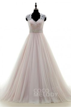 Classic A-Line V-neck Court Train Tulle Ivory/Pink Sleeveless Wedding Dress Sashes LWWT15019