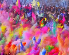 Best part of Holi - throwing colored and scented powder at each other.